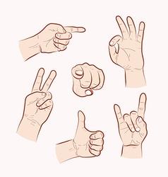 Set various hand gestures vector
