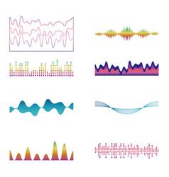 Set waves graphics vector