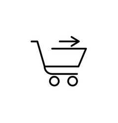 shopping cart with arrow in the right vector image