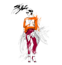 Shopping sale fashion collection style model girl vector