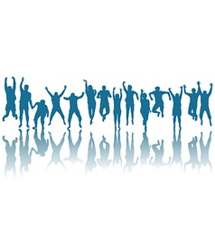 Silhouettes of happy people jumping vector image