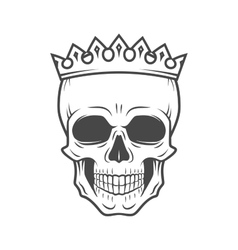 Skull king crown design element vintage royal vector
