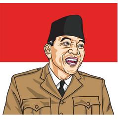 Soekarno republic of indonesia flag background vector