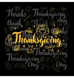 Thanksgiving Lettering Black Set vector image