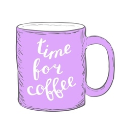 Time for coffee Brush hand lettering vector image