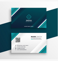 Turquoise geometric business card design vector