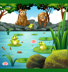 Two bears and three frogs at the pond vector