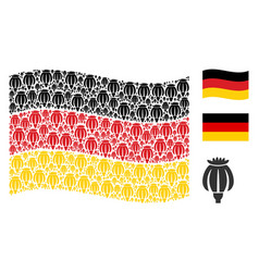 Waving germany flag collage of opium poppy items vector