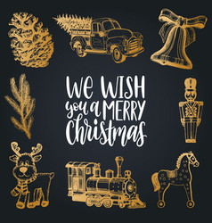 We wish you a merry christmas lettering with hand vector