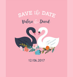 Wedding with swan save date card vector