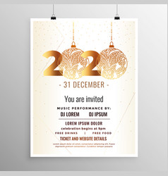 white and gold new year 2020 flyer template design vector image