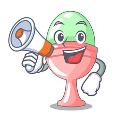With megaphone boiled egg cup isolated on mascot vector
