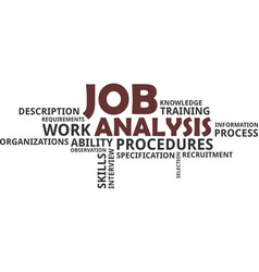 word cloud - job analysis vector image