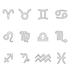 Zodiac signs for astrology simple set outline vector