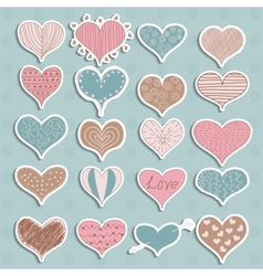 Valentines Day Hearts Retro Sketchy Doodles on vector image vector image