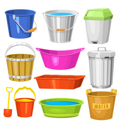 water buckets handle container equipment household vector image