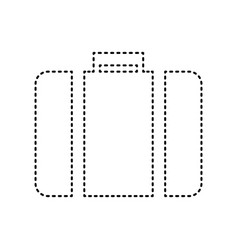 briefcase sign black dashed vector image