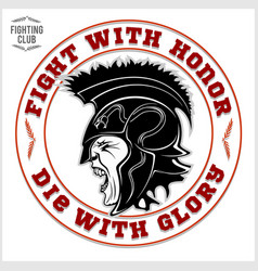gladiator logo with spear and shield vector image vector image