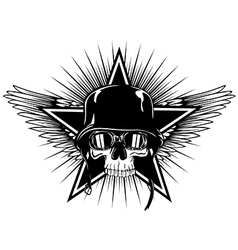 Skull in goggles and helmet star and wings vector