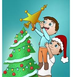 father and son christmas vector image
