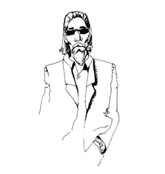 man with long hair and glasses vector image vector image
