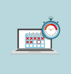 laptop with calendar and stopwatch schedule vector image