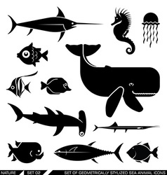 Set of geometrically stylized sea animal icons vector image vector image