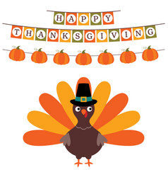thanksgiving card with a banner and a turkey vector image vector image