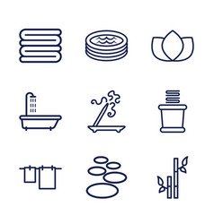 9 spa icons vector