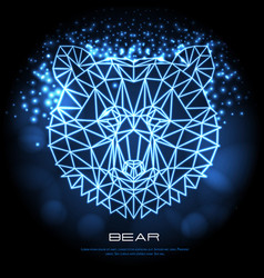 abstract polygonal tirangle animal bear neon sign vector image