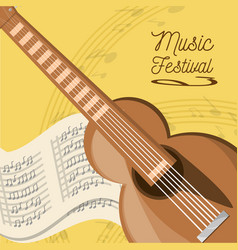 acoustic guitar with music sheet vector image
