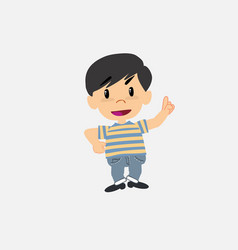 Asian boy in jeans lying greets with a dreamy vector