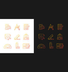 Back to school shopping gradient icons set vector