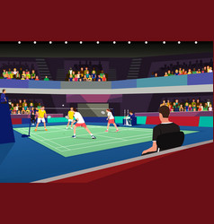 Badminton players in a tournament match vector