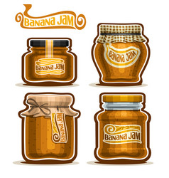 Banana jam in glass jars vector