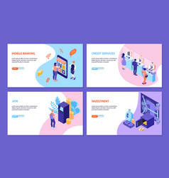 bank services isometric horizontal banners vector image