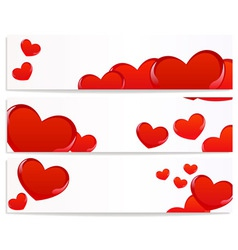 banners with hearts vector image vector image