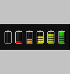 battery charge level icons set accumulator vector image