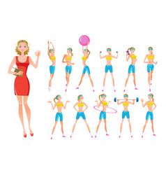 beautiful fitness girl in different positions vector image