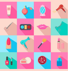 beauty salon set of cartoon icons colorful vector image