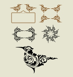 Bird floral ornament decoration vector