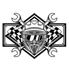 black and white racing team logo vector image