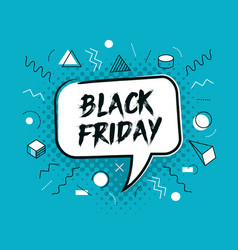 black friday speech bubble memphis style poster vector image