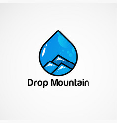 Blue drop mountain logo concept icon element and vector
