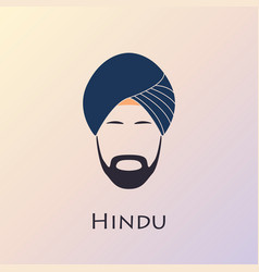 blue turban headdress and mustache indian man vector image