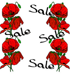 Bouquets of red poppies and inscription sale vector