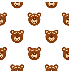 Brown teddy bear head pattern seamless vector