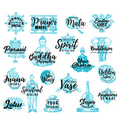 Buddhism religion icons lettering vector