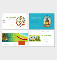 cartoon camping websites set vector image