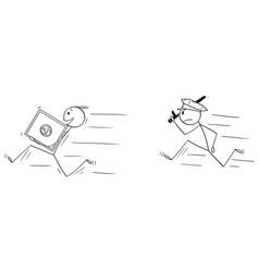 cartoon man or businessman thief running vector image